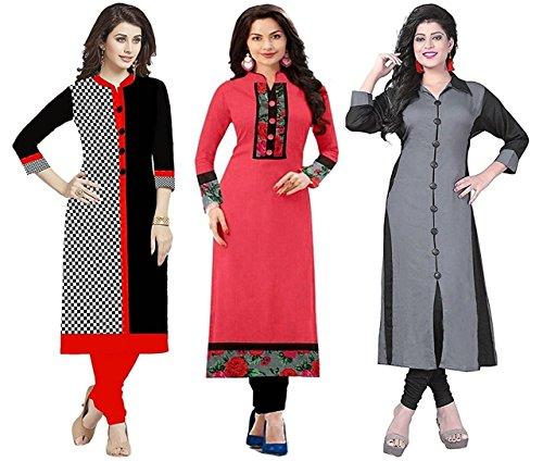 Rensila Women\'s Cotton Combo Of 3 Unstitched Kurti (Black & Pink & Grey_Free Size)