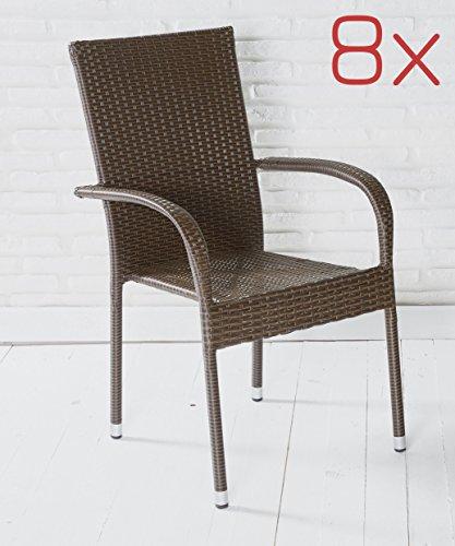 8x Stapelstuhl Gartenstuhl braun Poly Rattan Stahl Gartenstühle Balkonstühle