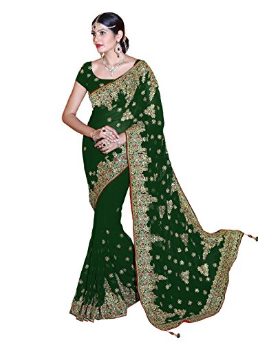 SOURBH Women's Heavy Embroidered Wedding Bridal Saree with blouse piece (3803_Green)