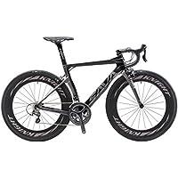 SAVADECK Phantom 2.0 700C Bicicleta de Carretera de Fibra de Carbono Shimano Ultegra R8000 22-Velocidad Sistema Michelin 25C Neumáticos Fi'zi: k Cojín (52cm, Gris)