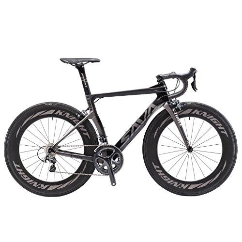 SAVADECK Phantom3.0 Carbon Rennrad 700C Kohlefaser Rennräder Fahrrad mit Shimano Ultegra 8000 22 Speed Schaltgruppe Continental Ultra Sport II 25C Reifen und Fizik Sattel (Grau-(88mm Räder), 54cm)