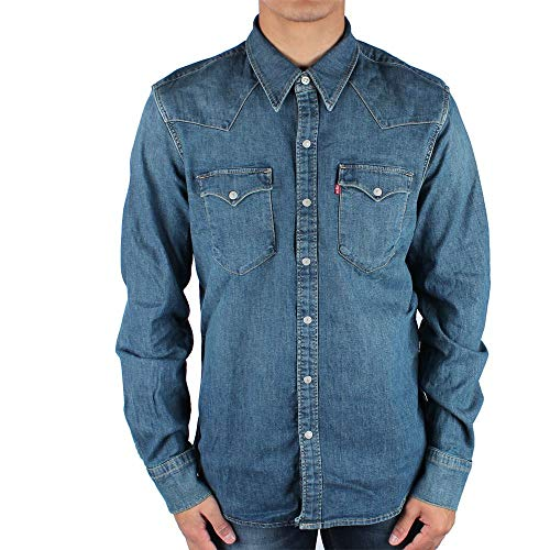 Levi's barstow western, camicia in jeans uomo, blu (green cast dark 0300), x-large
