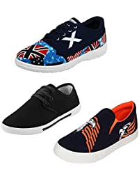 Dailywreck Combo Of 3 Men's Canvas Black_Sky Blue Sneakers, Black Sneakers And Black_Orange Loafers Shoes