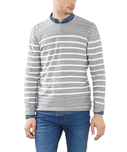 ESPRIT Herren Pullover Gestreift-Regular Fit Grau (GREY 030)