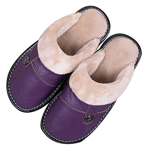 TELLW Pantofole e Pantofole Invernali Calde da Uomo e da Donna a casa Pantofole di Peluche Viola