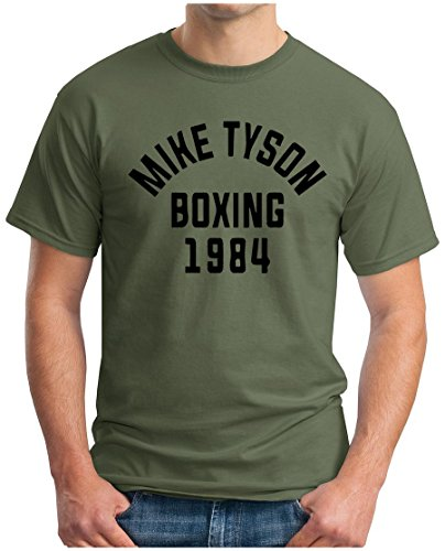 OM3 - MIKE TYSON 1984 - T-Shirt BOXING Heavyweight CHAMPION KO FIGHT PEACE DOPE NYC GEEK, S - 5XL Oliv