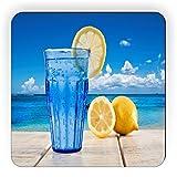 Rikki Knight Sparkling Water and Lemon on Deck Design Square Fridge Magnet