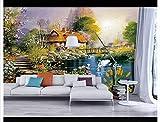 HONGYAUNZHANG Swan Chalet Benutzerdefinierte Fototapete 3D Stereoskopische Wandbild Wohnzimmer Schlafzimmer Sofa Hintergrund Wandmalereien,350Cm (H) X 430Cm (W)