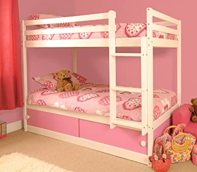 Girls Slide Storage White Wooden Bunk Bed with Pink Sliding Doors with Mattresses - inexpensive UK Bunkbed store.