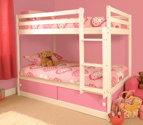Comfy Living Girls Slide Storage White Wooden Bunk Bed with Pink Sliding Doors