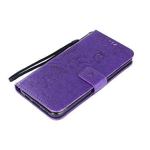 Horizontale Bookstyle Flip Case Premium PU Ledertasche, Solid Color Embossed Blumen Schutzhülle Tasche Tasche mit Lanyard & Stand für Samsung Galaxy S8 Plus ( Color : Purple ) Modena