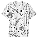 Snoogg Black Instruments Mens Casual All Over Printed T Shirts Tees Amazon