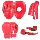 Set zum Boxen bestehend aus klar gewölbten Focus-Pads, Boxhandschuhen und Handbandagen, Haken und Jabs, für junge und ältere Damen im MMA- oder Kickbox-Training, in Pink, rot, 170,1 g (6 oz)