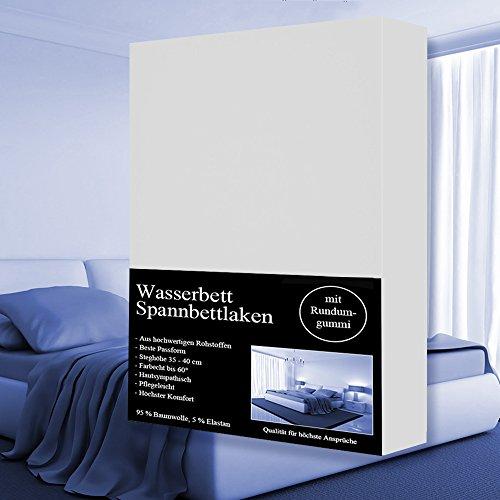 Wasserbett Spannbettlaken 180x200 cm bis 200x220 cm Spannbetttuch, 95%Baumwolle +5% Elasthan,Steghöhe 40cm (Weiss)