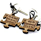 Lieblingsmensch 2er Set Gravur Partner Schlüsselanhänger aus Holz - Modell: Puzzle