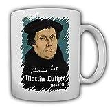 Martin Luther_Porträt Reformation Neuen Testament evangelisch-lutherische Kirche Lutherbibel Protestanten Christen Unterschrift Gemälde Bild - Kaffee Becher Tasse #13610