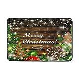 Kcldeci Fußmatte für den Eingang 59,9 x 39,9 cm, Weihnachtsmotiv mit Lebkuchen und Keksen, für den Winter, für Neujahr, Jingle Bell Bad, rutschfeste Fußmatte auf der Vorderseite
