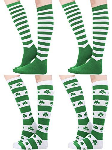 St Tag Kostüm Patricks - Blulu 4 Paare St. Patrick's Tag Kniestrümpfe Shamrock Gestreift Oberschenkel Strumpf für Kostüm Party Zubehör, 4 Stile (Farbe Set 2)