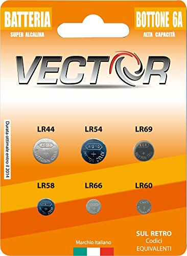 BATTERIA VECTOR BOTTONE ALCALINE ASS 6A 1,5V