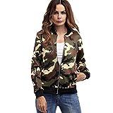 Damen Military-Stil Jacken Langarm Zipper Camouflage Bedruckte Jacken Outwear (Grün, XL)