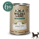 Wildes Land | Nassfutter für Hunde | Ziege PUR | 6 x 400 g | mit Distelöl | Getreidefrei & Hypoallergen | Extra hoher Fleischanteil von 70% | Beste Akzeptanz und Verträglichkeit