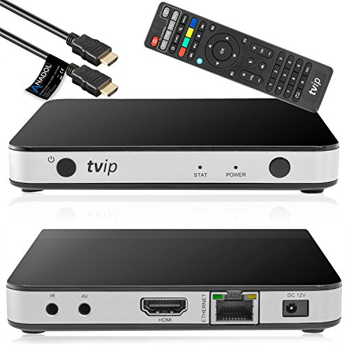 TVIP S-Box v.605 IPTV 4K HEVC HD Android 6.0 Linux Multimedia Stalker IP TV Streamer 1GB RAM + 8GB eMMC, MicroSD Card, ext.IR, 5GHz Wlan inkl. Anadol HDMI Kabel (1 Gb Tv)