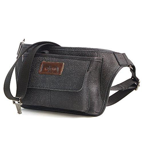 Joyir Genuine Leather Bum Bag Belt Pouch Purse Vintage City Leisure Weekend Party Festival Bag Brown Small Brown Unisex Black Color