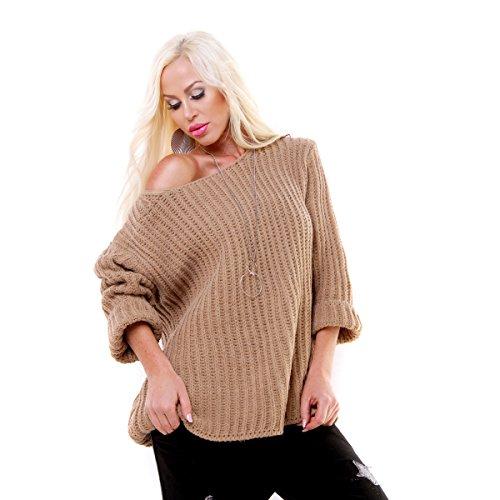 Damen Pullover im Grobstrickmuster, Strickpulli mit Kreuzschnüre auf der Rückseite, im Oversize Look, Gr. 34-38 Beige