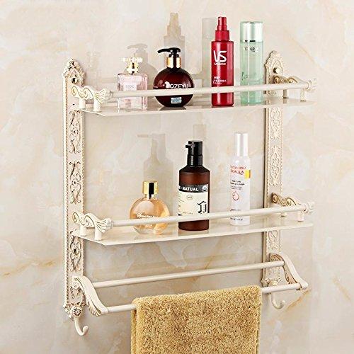 Salle de bains étagère en aluminium vintage porte-serviettes de bain sculpté, gratuit poinçon, 42 cm, double couche