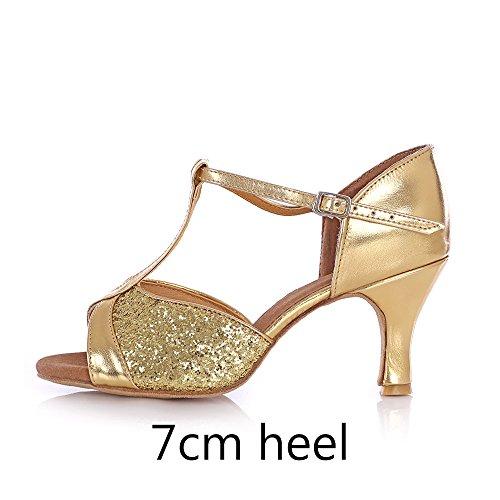 YFF Donne Ladies ragazza di sala da ballo latino scarpe da ballo Gold 7cm Heel