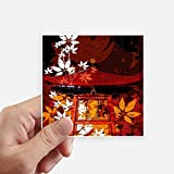 DIYthinker Japan Japanische Art-Blätter Pavillon Quadrataufkleber 10Cm Wand Koffer Laptop Motobike Aufkleber 8Pcs 10Cm X 10Cm Mehrfarbig
