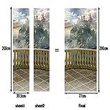 L-com LLL MT051 Türbild Türaufkleber Türposter Kreativ Balkon Traum Schloss Muster Selbstklebend Wasserdicht 15
