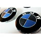 3D Carbon Emblema Esquinas Adhesivo Negro Azul