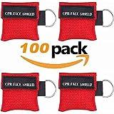 Paquete de 100 piezas CPR Máscara Llavero Anillo Kit de Emergencia Rescue Face Shields con válvula de respiración de una vía para primeros auxilios o entrenamiento AED, para adultos y bebés, fácil de (rojo)