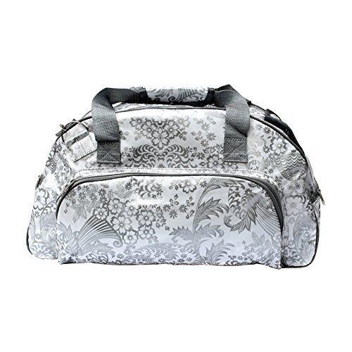 wasserdichte Saunatasche Sporttasche Schwimmtasche Reisetasche Weekender Umhängetasche aus Wachstuch für Damen, mit Blumen, Retrolook, Eden silber