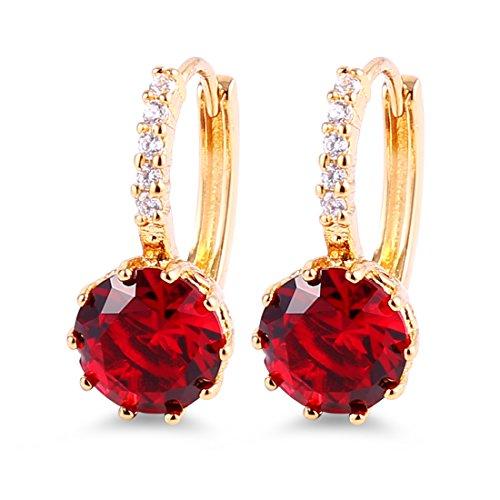 GULICX Schöne Rote Kristall Gold-Ton Hänger Zirkonia CZ Rund Cut Granat Farbe plattiert Creole klappbügel Ohrringe Für Party