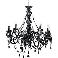 Kare 61927 - Lámpara de techo de araña con cristales (9 brazos), color negro
