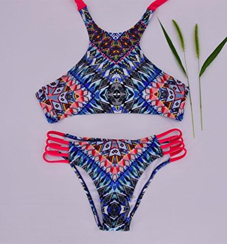 WanYang Damen Sommer Push Up Neckholder Bikini Set Bademode Beachwear Zweiteilig Blau