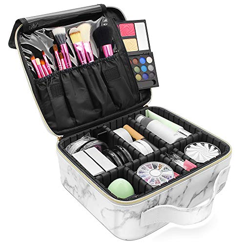 Marble Travel Makeup Case Beauty...
