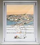 INDIGOS UG Sichtschutzfolie Glasdekorfolie Fensterfolie mit Motiv satiniert blickdicht - E696 Hund essen - 1000 mm Länge - 500 mm Höhe Streifen