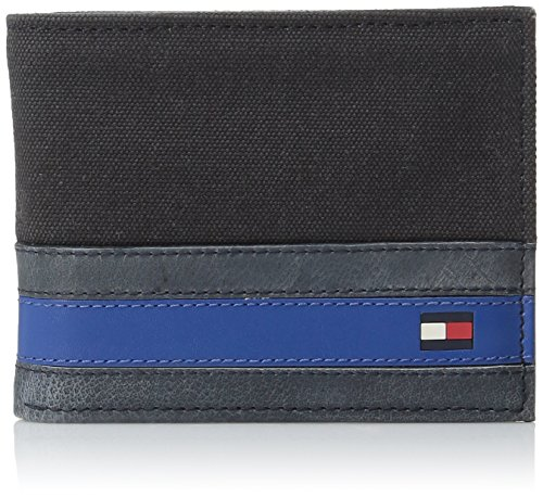 Tommy Hilfiger Men's Leather Passcase Wallet with Removable Card Holder,Exeter Black