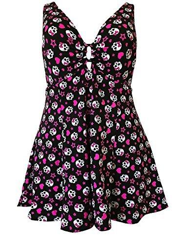 Rockabilly Badeanzug Totenschädel Aufdruck Übergröße - schwarz, rosa, weiß, lycaspandex, EU 48 (Swimdress Badeanzug)