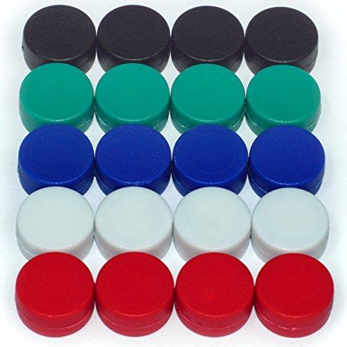 20 bunte Magnete - EXTRA STARK Neodym gummierte Schutzschicht (ø12x6mm) | einzigartig | starke neodym Magnete für Magnettafel, Whiteboard, Glasmagnettafel und als Kühlschrankmagnete