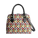 Einzigartig Damen Top Griff Tasche von Signare/Tapisserie Handtasche Umhängetasche Henkeltaschen/Multicoloured-Triangle Conv-MTRI