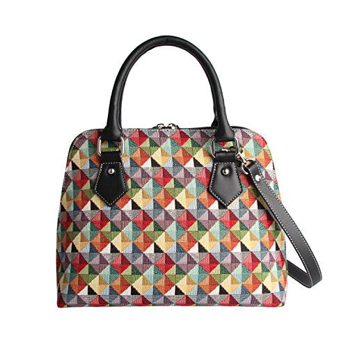 Signare Mode Femme Sac d'épaule Convertible en Toile Tapisserie Triangle Multicolore