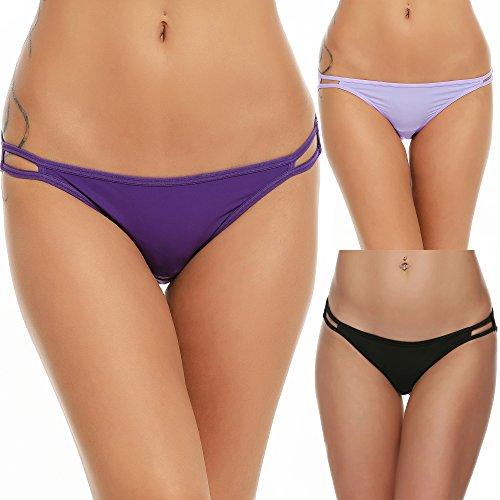 Ekouaer Damen bikini panty s seam freier string mikrofaser slips im 3er-pack verschiedene farben Schwarz/Lila/Light Lila (3 Pack) X-Large -