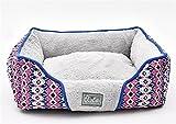hame11 Vier Jahreszeiten Universal Platz Zwinger Hundeauflage Waschbar Rutschfest Hundebett mit umkehrbarem Kissen Bequemer Schlaf 61 × 52 × 18 cm, Grau