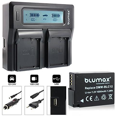 Blumax Akku DMW-BLC12 1000mAh + Doppelladegerät DMW-BLC12 Dual Charger   passend zu Lumix DMC FZ1000 FZ300 FZ200 GX8 G70 G7 G6 G5 -- Leica V-LUX 4    2 Akkus gleichzeitig Laden