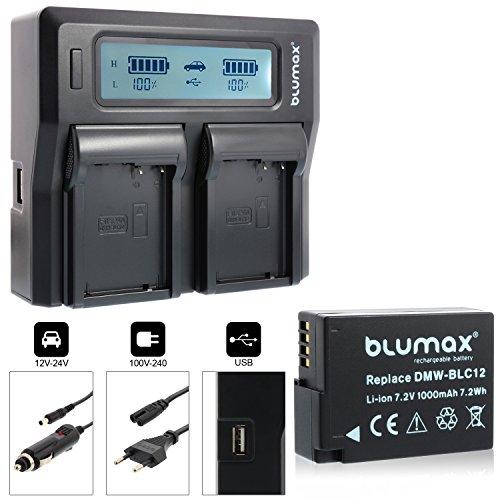 Blumax Akku DMW-BLC12 1000mAh + Doppelladegerät DMW-BLC12 Dual Charger   Passend zu Lumix DMC FZ1000 FZ300 FZ200 GX8 G70 G7 G6 G5 - Leica V-Lux 4    2 Akkus gleichzeitig Laden