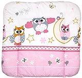 Baby Auflage Wickelauflage - EULE - ROSA - 70x50 cm 70x70 cm 70x85 cm Wickeltischauflage 70x70 cm